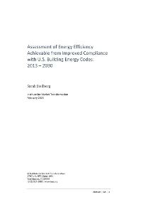 Assessment of Energy Efficiency Achievable from Improved Compliance with U.S. Building Energy Codes