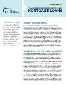 Financing Energy Efficiency Through Mortgage Loans
