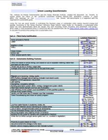 Green Leasing Questionnaire for Tenants
