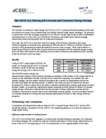 The SAVE Act: Driving Job Creation and Consumer Energy Savings