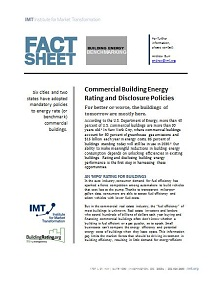 Commercial Building Energy Rating and Disclosure Policies