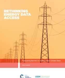 "Cover image of the IMT report ""Rethinking Energy Data Access: Conquering Barriers to Achieve Local Climate Goals"""