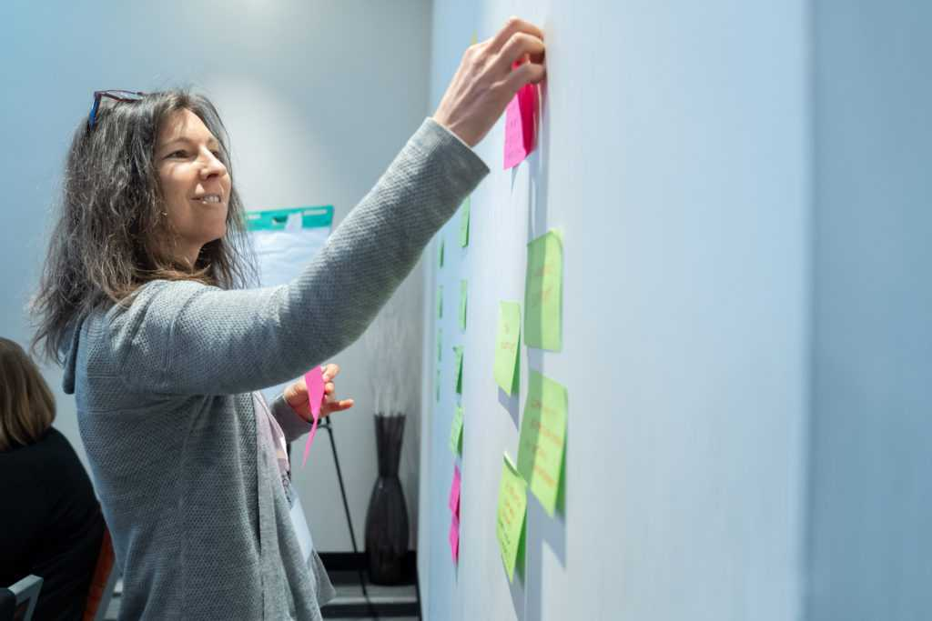Facilitator at a white board with post its