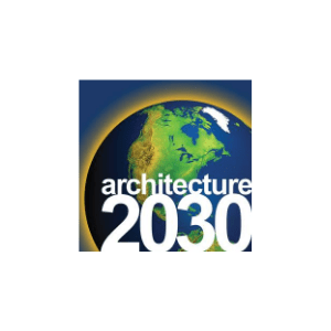 Architecture 2030 log of Earth with white text