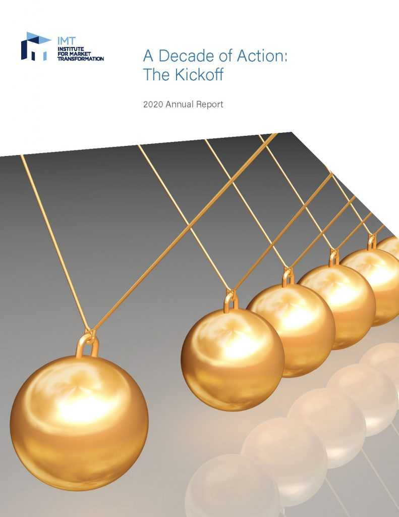 Cover image of IMT's 2020 annual report featuring gold colored Newton's cradle