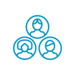 Blue line icon of three heads in outlined circles stacked in a pyramid