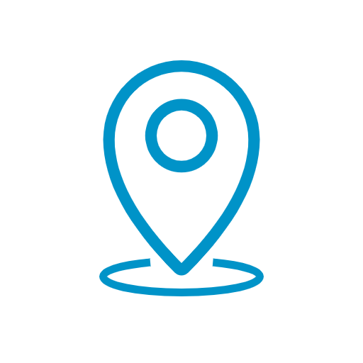 Blue line icon of a map marker