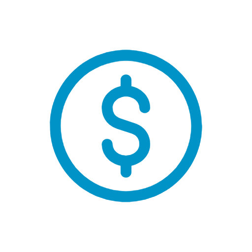 Blue dollar sign in an outlined circle