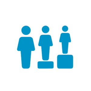 Blue solid icon of three people of various heights in a roe but all raised to the same level