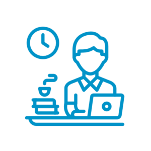 Light blue line icon illustrationg of a person with a laptop and cup of coffee